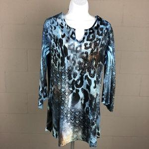 B.L.E.U. Women's Long Sleeve Tunic Size M Blue RZ